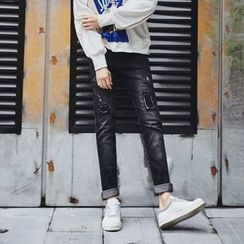 MEING - Washed Distressed Slim-Fit Jeans
