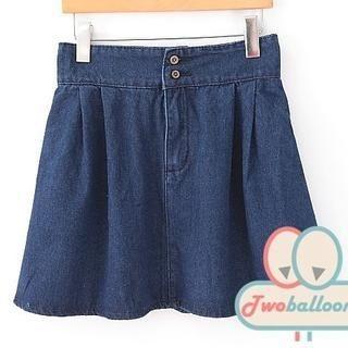 JVL - Elastic-Waist Denim A-Line Skirt