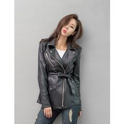 GUMZZI - Faux-Leather Tied-Waist Jacket