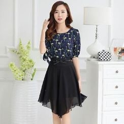 Romantica - Set: Patterned Chiffon Top + A-Line Skirt