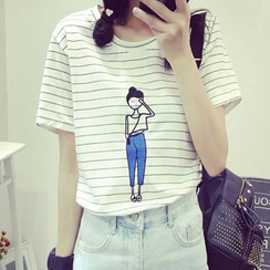 MATO - Cartoon Print Stripe T-Shirt