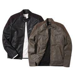 Seoul Homme - Faux-Suede Panel Faux-Leather Jacket