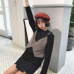 Eva Fashion - Long Sleeve Mock Two-Piece T-Shirt