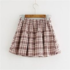 Storyland - Plaid Buttoned A-Line Skirt