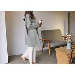 Hello sweety - Open-Front Oversized Wool Blend Coat
