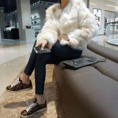 DISCOSALON - Round-Neck Faux-Fur Jacket