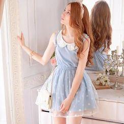Tokyo Fashion - Beaded Peter Pan-Collar Sleeveless Dress