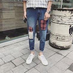 Masowild - Plaid Applique Jeans