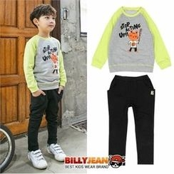 BILLY JEAN - Boys Set: Raglan-Sleeve Graphic Sweatshirt + Cotton Pants
