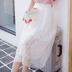 Sofia - Lace Pleated Midi Skirt