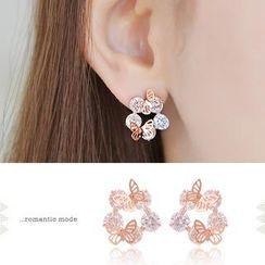 soo n soo - Butterfly Crystal Earrings