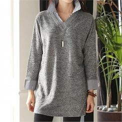CHICFOX - Inset Shirt Long T-Shirt