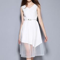 Merald - Sleeveless Mesh Panel A-line Dress with Belt
