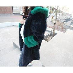 MARSHMALLOW - Faux-Fur Contrast-Trim Hooded Coat