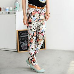 59 Seconds - Floral Skinny Jeans (Belt not Included)