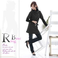 RingBear - Wool-Blend Stand Collar Belt Dress