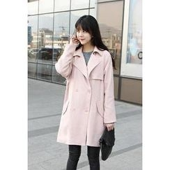 FOLDER12 - Flap-Front Double-Breasted Trench Coat