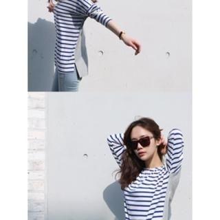snfeel - Contrast-Trim Stripe T-Shirt
