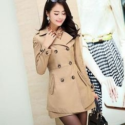 Flower Creek - Double-Breasted Layer Trench Coat