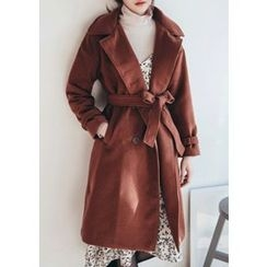 Chlo.D.Manon - Drop-Shoulder Double-Breasted Coat with Sash