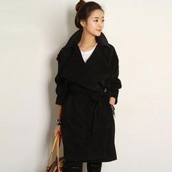 FASHION DIVA - Wide-Collar Trench Coat with Sash