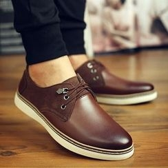 Shino - Genuine-Leather Paneled Casual Shoes