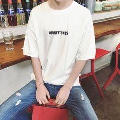 ZZP HOMME - Short-Sleeve Lettering T-Shirt