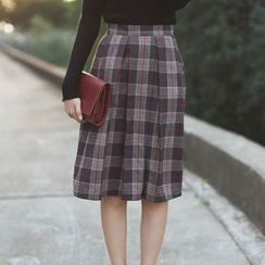 sansweet - Plaid A-Line Skirt