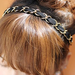 kitsch island - Elasticized Fabric & Chain Hair Band