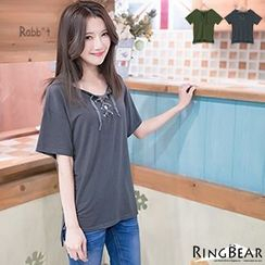 RingBear - Short Sleeve Lace-up V-Neck Top