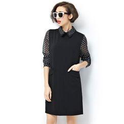 VIZZI - Polka Dot Collared Dress