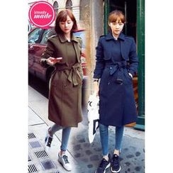 IMvely - Flap-Front Trench Coat with Belt