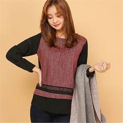 Styleberry - Color-Block Lace-Trim Top