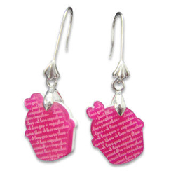 Sweet & Co. - I Love Cupcakes Mirror Fuchsia Charm Earrings