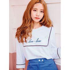 icecream12 - 3/4-Sleeve Embroidered T-Shirt