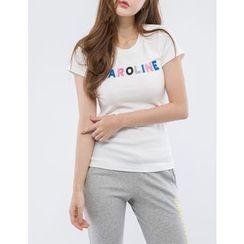 GUMZZI - Round-Neck Lettering T-Shirt