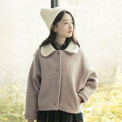 sansweet - Buttoned Fleece Jacket