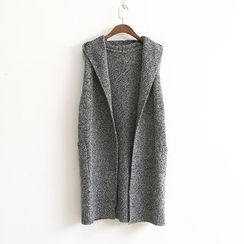 Ranche - Mélange Hooded Long Knit Vest