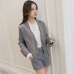 LRZ - Set: Open Front Knit Blazer + Shorts