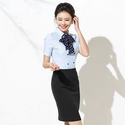 Aision - Double-Breasted Shirt / Pencil Skirt