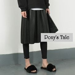 Pony's Tale - Faux Leather Pleated Midi Skirt