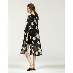 GUMZZI - Open-Front Floral Print Robe Cardigan