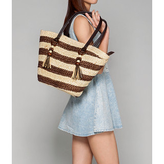 59 Seconds - Striped Straw Tote