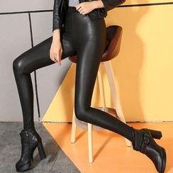 LIVA GIRL - 仿皮内抓毛窄身裤