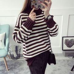 Qimi - Stripe Turtleneck Knit Top