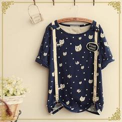 Fairyland - Short-Sleeve Cat Print Suspender T-Shirt