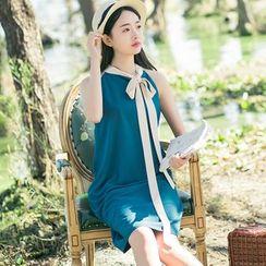 Sens Collection - Tie Neck Plain Sleeveless Dress