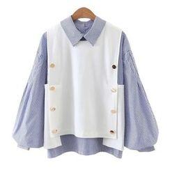 Girls Talk - Set: Pinstriped Ball Sleeve Blouse + Vest