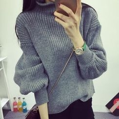 Fashion Street - Lantern Sleeve Mock Neck Thick Sweater