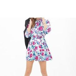 Richcoco - 3/4-Sleeve Floral Print Chiffon A-Line Dress